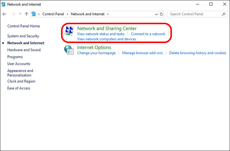 Go to network and sharing center