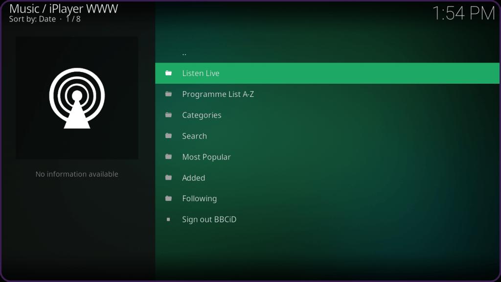 BCC iPlayer TV KodiStep 20