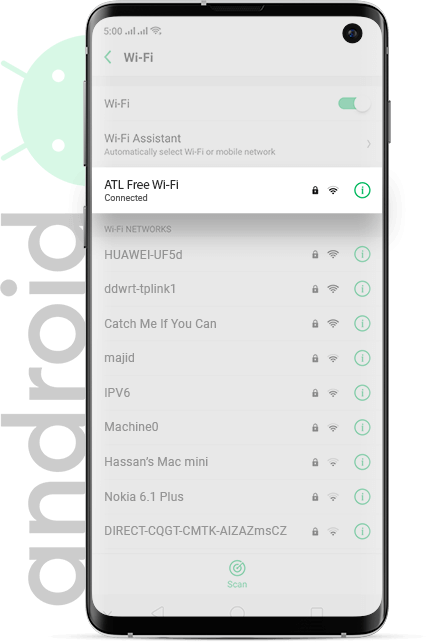 Luton Airport wifi Android