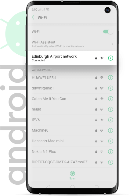 Edinburgh Airport wifi Android