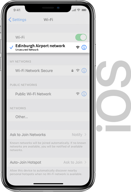 Edinburgh Airport Wifi IOS