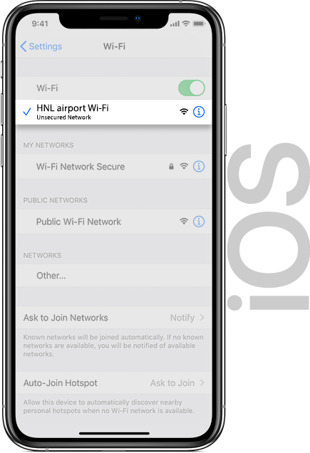 HNL Airport Wifi IOS