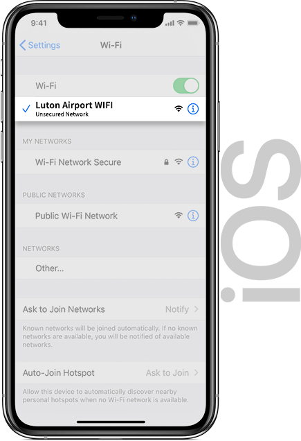 Luton Airport Wifi IOS