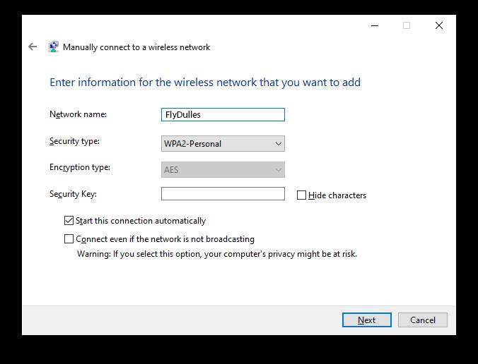 Dulles WiFi Windows