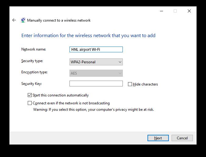 HNL Airport Wifi Windows
