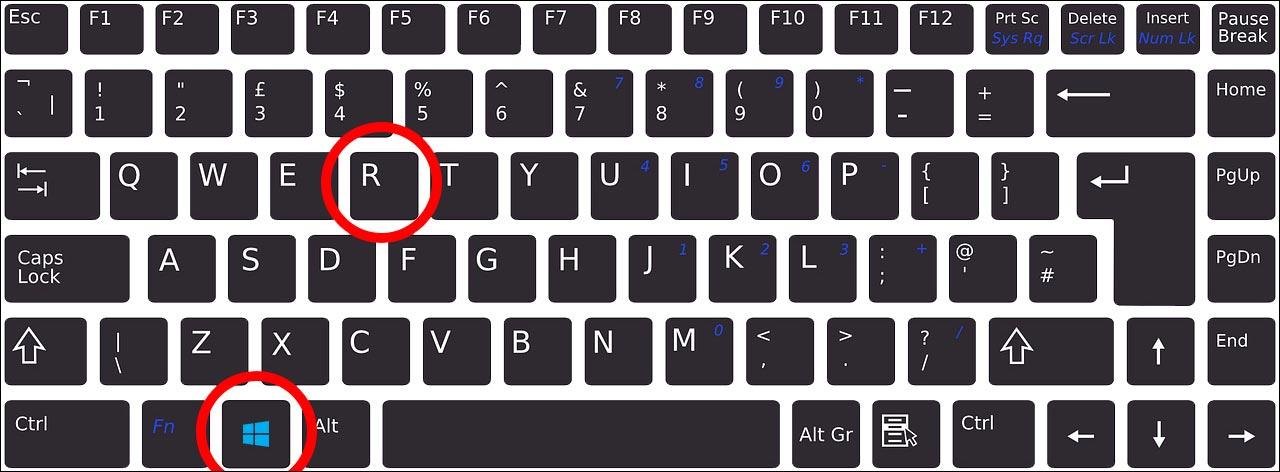 Hit windows and r key on keyboard